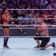 John Cena, superstar du catch, a demandé sa compagne Nikki Bella, diva de la WWE, en mariage sur le ring de WrestleMania 33, le 2 avril 2017 à Orlando en Floride. Et elle a dit oui !