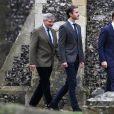 Michael Middleton, James Matthews et James Middleton à l'église St Mark à Englefield (Berkshire) pour la messe de Noël au matin du 25 décembre 2016. C'est là que sera célébré le 20 mai 2017 le mariage de Pippa Middleton et James Matthews.