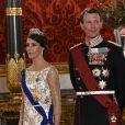 La princesse Marie et le prince Joachim de Danemark arrivant au dîner d'Etat en l'honneur de la visite officielle du roi Philippe et de la reine Mathilde de Belgique au Palais de Christiansborg à Copenhague le 28 mars 2017.