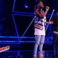Lisandro Cuxi face à Angelo Powers dans The Voice 6, le 15 avril 2017 sur TF1.