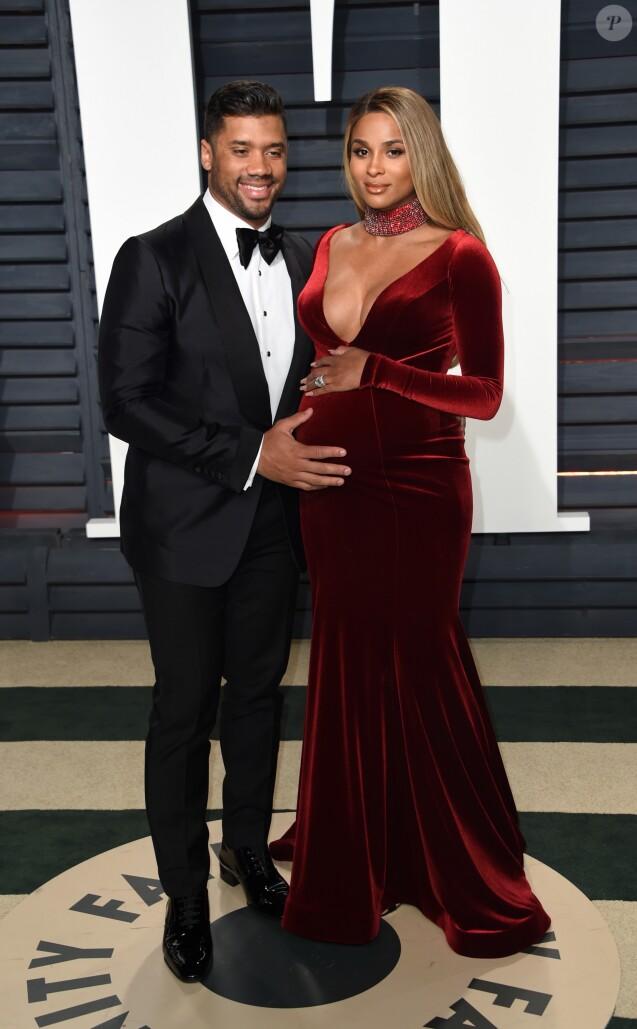 Ciara enceinte et son mari Russell Wilson - Vanity Fair Oscar viewing party 2017 au Wallis Annenberg Center for the Performing Arts à Berverly Hills, le 26 février 2017. © Chris Delmas/Bestimage