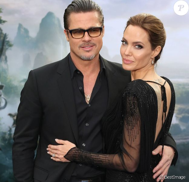 """Brad Pitt, Angelina Jolie - Première du film """"Maleficent"""" à Londres le 8 mai 2014."""