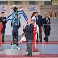 Alejandro Agag, créateur du championnat de Formule E, Louis Ducruet, le prince Albert II de Monaco, Charlotte Casiraghi et son fils Raphaël, Sébastien Buemi (Renault E.dams), Lucas di Grassi (Audi Sport ABT), Nick Heidfeld (Mahindra) - Grand Prix de Formule E à Monaco le 13 mai 2017. © Michael Alesi / Bestimage