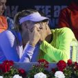 Maria Sharapova et Grigos Dimitrov lors d'un match de tennis de charité à Madrid, le 4 mai 2017
