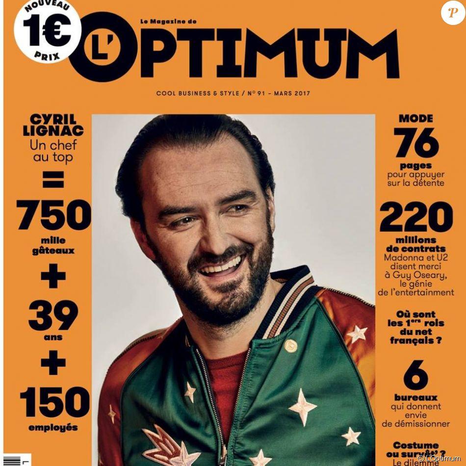 """Cyril Lignac en couverture du magazine """"L'Optimum""""n numéro 91, mars 2017,"""