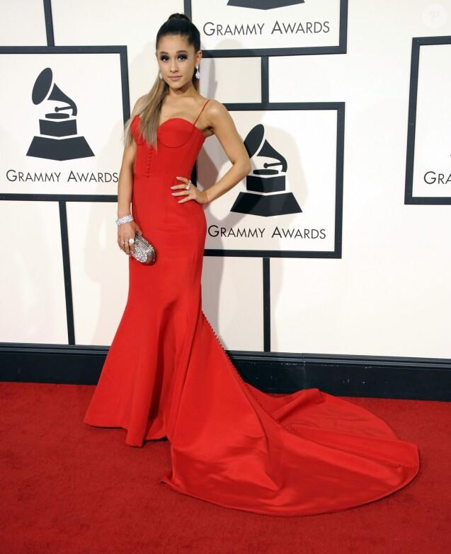Ariana Grande à La 58ème soirée annuelle des Grammy Awards au Staples Center à Los Angeles, le 15 février 2016.