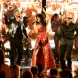 J Balvin, Camila Cabello et Pitbull aux 2017 MTV Movie & TV Awards à Los Angeles. Le 7 mai 2017.