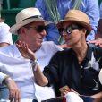 Cristina Cordula et son compagnon Frédéric Cassin assistent à la victoire de N. Djokovic sur G. Simon lors du Monte Carlo Rolex Masters 2017 sur le court Rainier III du Monte Carlo Country Club à Roquebrune-Cap-Martin, le 18 avril 2017.