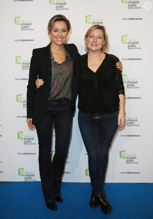Anne-Sophie Lapix et Anne-Elisabeth Lemoine - Soirée du 20ème anniversaire de France 5 à la Cité de la mode et du design à Paris, le 27 novembre 2014.