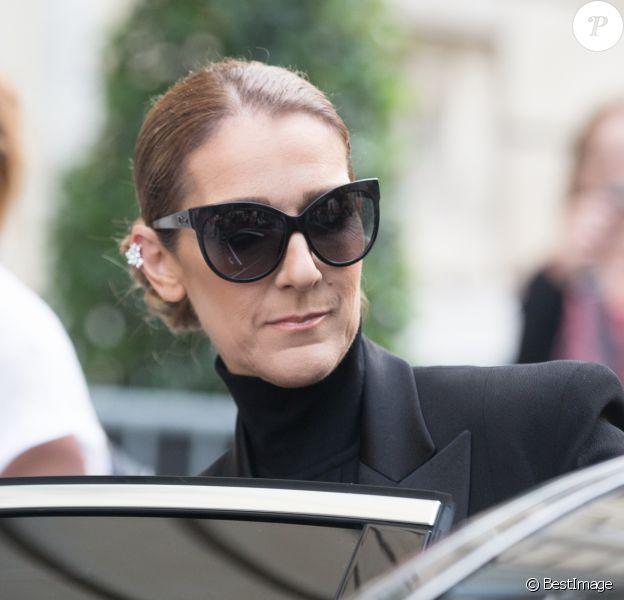 Semi Exclusif - Céline Dion quitte l'hôtel Royal Monceau pour se rendre à l'Opéra Garnier à Paris le 13 juin 2017.