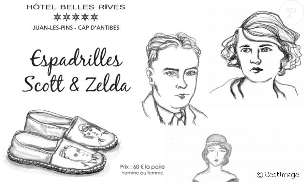 Zoom sur les espadrilles Scott & Zelda (portées ici le 15 juin 2017 par Frédéric Beigbeder) créées par la jeune styliste Rebecca Desbordes en collaboration avec 1789 Cala Côte d'Azur, en exclusivité pour l'Hôtel Belles Rives à Juan-les-Pins.