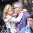 Exclusif - Jean-Marie Bigard et sa femme la jolie Lola vont fêter les 63 ans de Jean-Marie en amoureux au restaurant le Chalet des îles le 17 mai 2017.