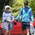 Exclusif Le joueur de tennis Novak Djokovic et sa femme Jelena Ristic enceinte, à Marbella, en Espagne, le 1er mai 2017.