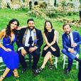 Leila Ben Khalifa, Kevin Razy, Ghislain et Christophe Beaugrand le 12 juillet 2017 au mariage de Charlotte Namura.