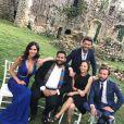 Leila Ben Khalifa, Christophe Beaugrand, Ghislain et Kevin Razy au mariage de Charlotte Namura et Jean-Luc Guizonne le 12 juillet 2017.