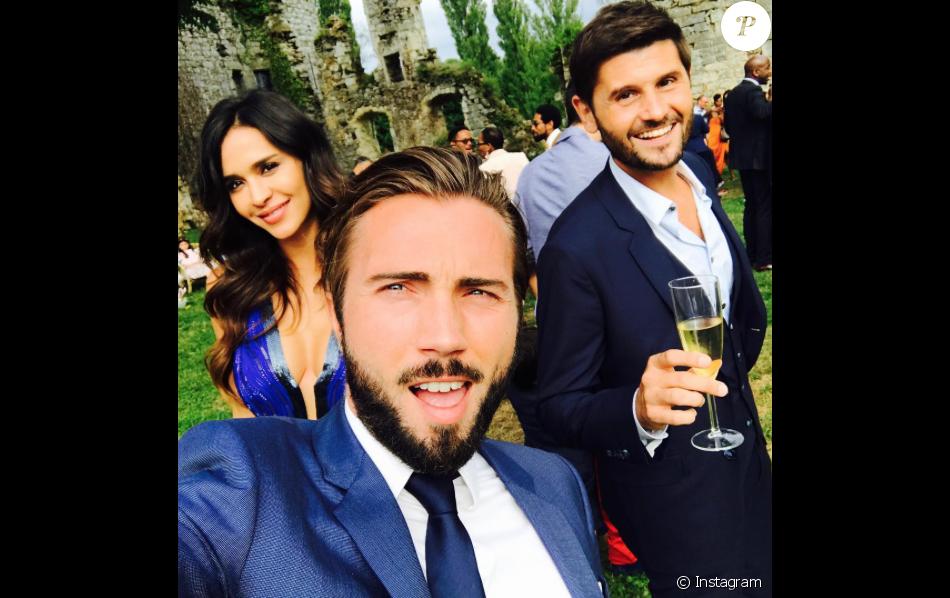 Leila Ben Khalifa, Christophe Beaugrand et Ghislain, le 12 juillet 2017 à  la fête de mariage de Charlotte Namura et Jean,Luc.