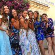 Marine Lorphelin, Nathalie Marquay, Iris Mittenaere, Chloé Mortaud, Alexandra Rosenfeld et Rachel Legrain-Trapani lors du mariage de Sylvie Tellier, à Porquerolles le 14 juillet 2017.