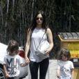 Exclusif - Megan Fox se promène avec ses enfants Noah et Bodhi à Los Angeles le 9 juillet 2017