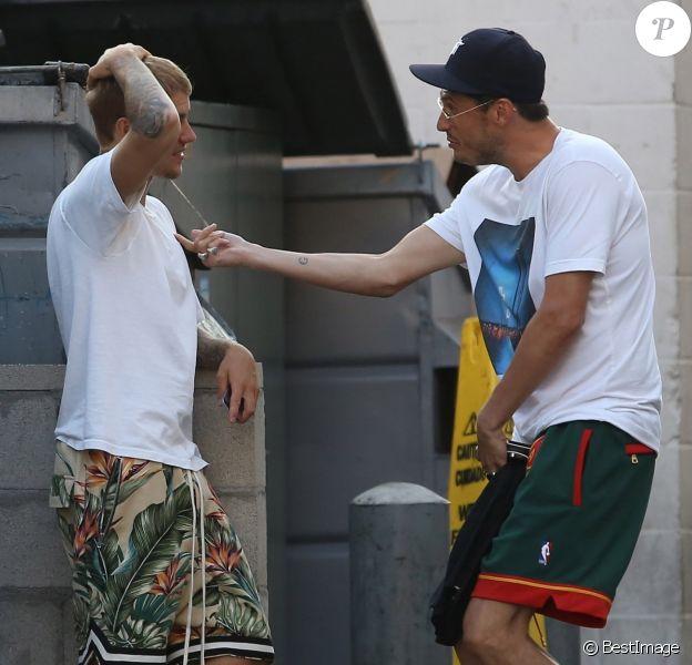 Justin Bieber et le pasteurCarl Lentzà Beverly Hills, le 25 juillet 2017