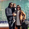 Photo de Tony Parker, son épouse Axelle et leur fils Josh. Février 2017.