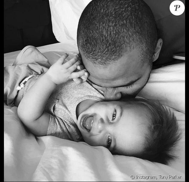 Tony Parker fête le premier anniversaire de son fils, Liam. Juillet 2017.