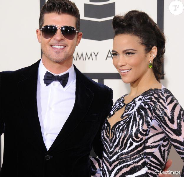 Robin Thicke et sa femme Paula Patton - 56eme ceremonie des Grammy Awards a Los Angeles le 26 janvier 2014.