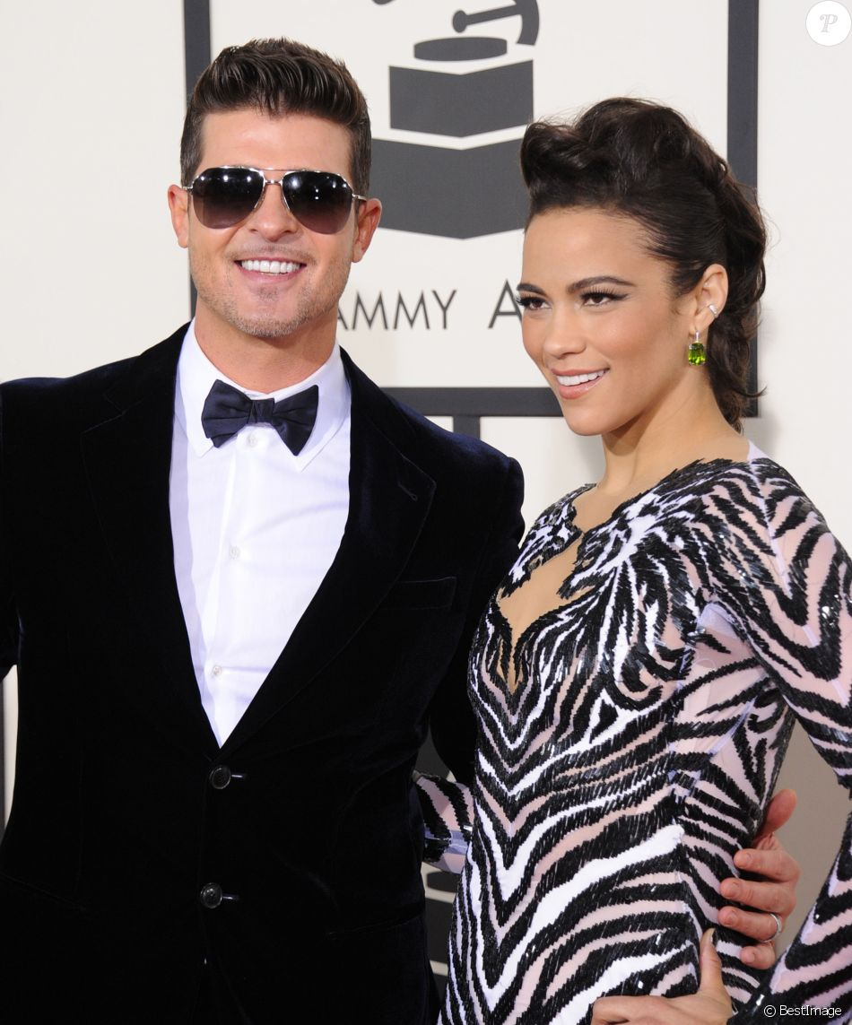 Robin Thicke et sa femme Paula Patton - 56eme ceremonie des Grammy Awards a Los Angeles le 26 janvier 2014.