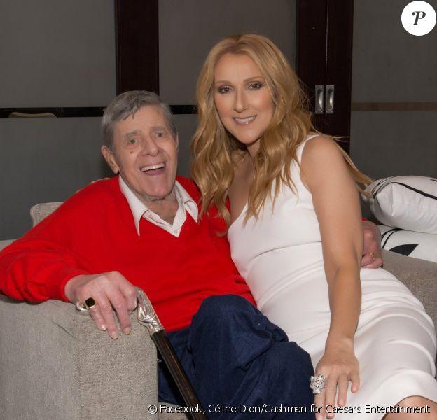 Céline Dion pose dans les loges du Caesars Palace de Las Vegas avec le regretté Jerry Lewis.