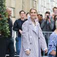 Céline Dion à la sortie de l'hôtel Royal Monceau, à Paris, France, le 10 août 2017. © Agence/Bestimage