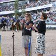 La princesse Madeleine de Suède était heureuse d'inaugurer lundi 21 août 2017 au stade Ullevi à Göteborg les Championnats d'Europe de dressage et de saut d'obstacles 2017.