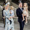 La princesse Madeleine de Suède et Christopher O'Neill avec leurs enfants la princesse Leonore et le prince Nicolas lors de la messe célébrée à l'occasion du 40e anniversaire de la princesse Victoria de Suède au palais royal à Stockholm le 14 juillet 2017.