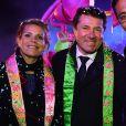 """Christian Estrosi et sa femme Laura Tenoudji assistent au 1er corso du Carnaval de Nice 2017, le 11 février 2017. Cette année le thème du carnaval est : """"le Roi de l'Energie"""", il se déroule du 11 au 25 février. Christian Estrosi a proposé à Liu Ye de devenir «Citoyen d'honneur de la Ville de Nice» pour le remercier de son immense contribution à la promotion de notre territoire. © Bruno Bebert/Bestimage"""