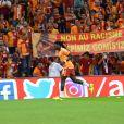 Bafétimbi Gomis sous ses nouvelles couleurs, celles de Galatasaray, le 25 août 2017 lors d'un match contre Sivasspor à Istanbul.