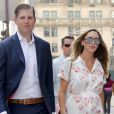 """Exclusif - Le fils de D Trump, Eric Trump et sa femme Lara Yunaska, enceinte, arrivent à la Trump Tower sur la 5ème avenue à New York, le 18 Juillet 2017.  Exclusive - For Germany Call For Price - No Internet Use For Switzerland and Belgium - D Trump's son Eric Trump with his pregnant wife Lara Yunaska are walking to the Trump Tower on Fifth Avenue in New York, NY on July 18, 201718/07/2017 - New York"""