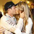 Nico Rosberg et sa femme Vivian - Nico Rosberg, qui termine deuxième du grand prix d'Abu Dabi derrière son coéquipier Lewis Hamilton le 26 novembre 2016.
