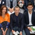 Aymeline Valade, Guillaume Canet et Novak Djokovic au défilé de mode collection printemps-été 2018 Lacoste lors de la Fashion Week au jardin des Tuileries à Paris, France, le 27 septembre 2017. © CVS-Veeren/Bestimage