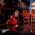 "Patrick Fiori, Angelina et Cassidy lors de la finale de ""The Voice Kids 4"" (TF1), samedi 30 septembre 2017."