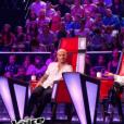 "M. Pokora, Jenifer et Patrick Fiori lors de la finale de ""The Voice Kids 4"" (TF1), samedi 30 septembre 2017."