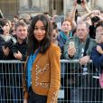 Laura Harrier - Défilé Louis Vuitton, collection printemps-été 2018 à la Pyramide du Louvre. Paris, le 3 octobre 2017. © CVS / Veeren / Bestimage