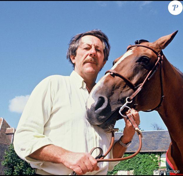 Jean Rochefort et son cheval en 1990