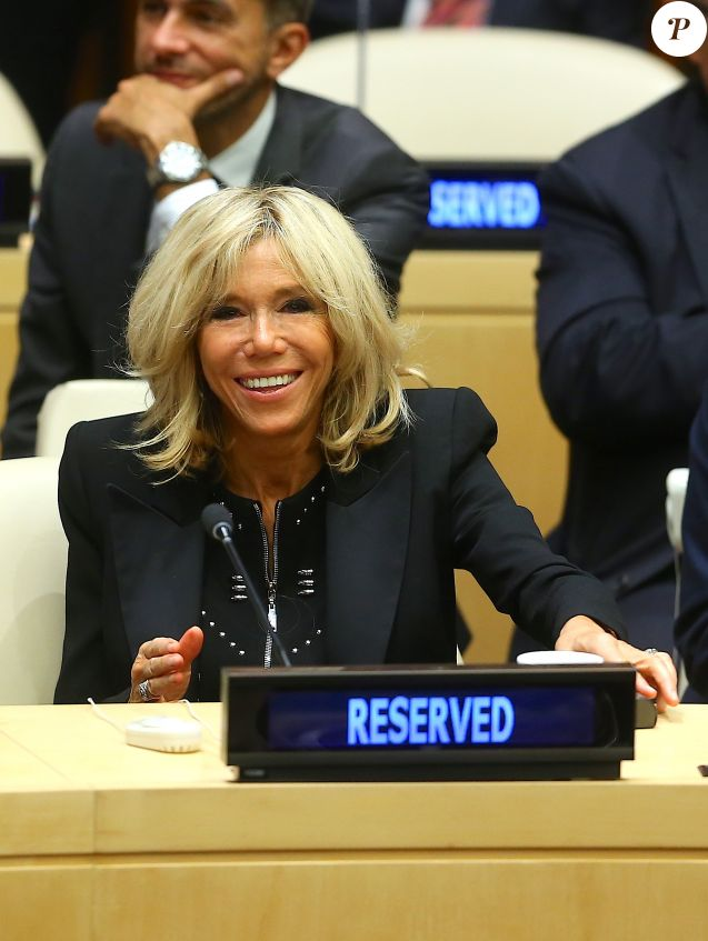 "Brigitte Macron assiste au débat ""Education for All"" au siège des Nations Unies à New York le 20 septembre 2017."