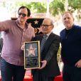 "Harvey Weinstein, Quentin Tarantino et Ennio Morricone - Ennio Morricone reçoit son étoile sur le ""Walk of Fame"" à Hollywood le 26 février 2016."