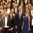 """Le roi Felipe VI et la reine Letizia d'Espagne à Oviedo le 19 octobre 2017 pour le traditionnel concert à la veille de la remise des """"Prix Princesse des Asturies 2017""""."""