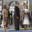 Le roi Felipe VI et la reine Letizia d'Espagne ont pris part, le 20 octobre 2017 au Théâtre Campoamor à Oviedo, à la cérémonie de remise des Prix Princesse des Asturies, en compagnie de la reine Sofia.