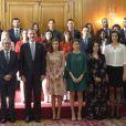 Le roi Felipe VI et la reine Letizia d'Espagne ont rencontré le 20 octobre 2017 à l'Hôtel Reconquista à Oviedo lauréats et personnalités à l'occasion des Prix Princesse des Asturies.