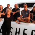 Exclusif - Brigitte Bardot posant avec l'équipage de Brigitte Bardot Sea Shepherd au port de Saint-Tropez, le 26 septembre 2014.