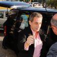 """Carla Bruni et Nicolas Sarkozy arrivent à leur hôtel à Athènes en Grèce le 22 octobre 2017. Carla Bruni sera en concert les 23 et 24 octobre 2017 au théâtre Pallas dans le cadre de sa tournée """"French Touch""""."""