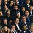 Isabelle Ithurburu et son compagnon Maxime Nucci, Jain et son ami, Nasser Al-Khelaïfi (président du PSG), Jean-Claude Blanc (manager général du PSG) et Jean-Pierre Rivère (président de Nice) en haut à droite - People dans les tribunes du Parc des Princes lors du Match PSG contre Nice le 27 octobre 2017. © Giancarlo Gorassini/Bestimage