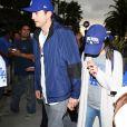Ashton Kutcher et sa femme Mila Kunis arrivent match de la série mondiale, Match 6 de Houston Astros contre Los Angeles Dodgers à Los Angeles, le 31 octobre 2017