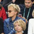 """Muriel Robin et sa compagne Anne Le Nen - People a la demi-finale entre J. Sock et J. Benneteau - Tournoi de tennis """"Rolex Paris Masters 2017"""" - paris le 4 novembre 2017 © Veeren - Perusseau / Bestimage"""